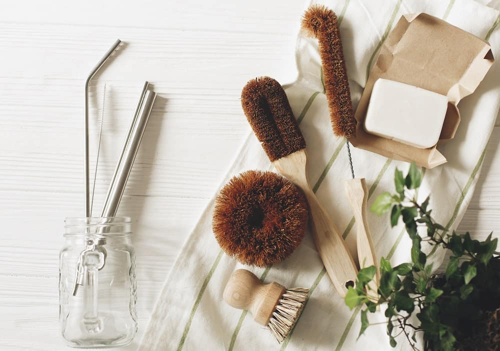 dishwashing brush and soap for stainless steel cookware